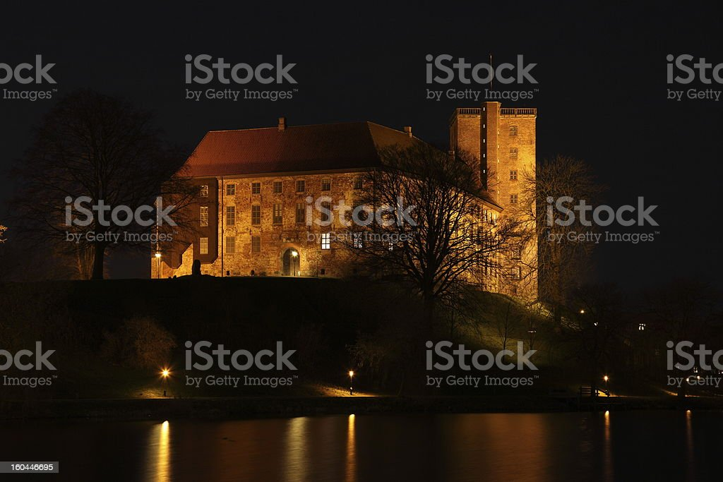Koldinghus castle, Kolding Denmark illuminated by night stock photo