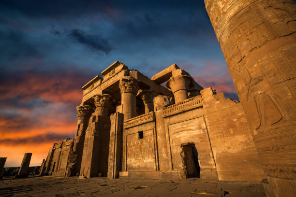 Kom Ombo temple for Horus and Sobek gods, Egypt stock photo
