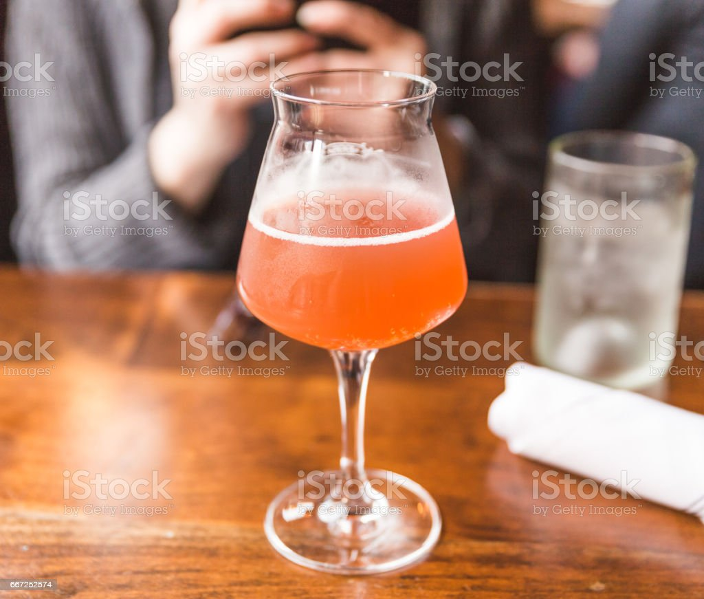 Kombucha Drink in Fancy Glass at Restaurant stock photo