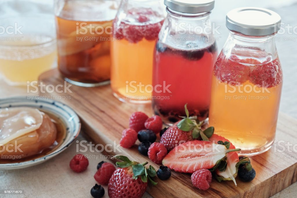 Kombucha second Fermented fruit tea, Probiotic food stock photo
