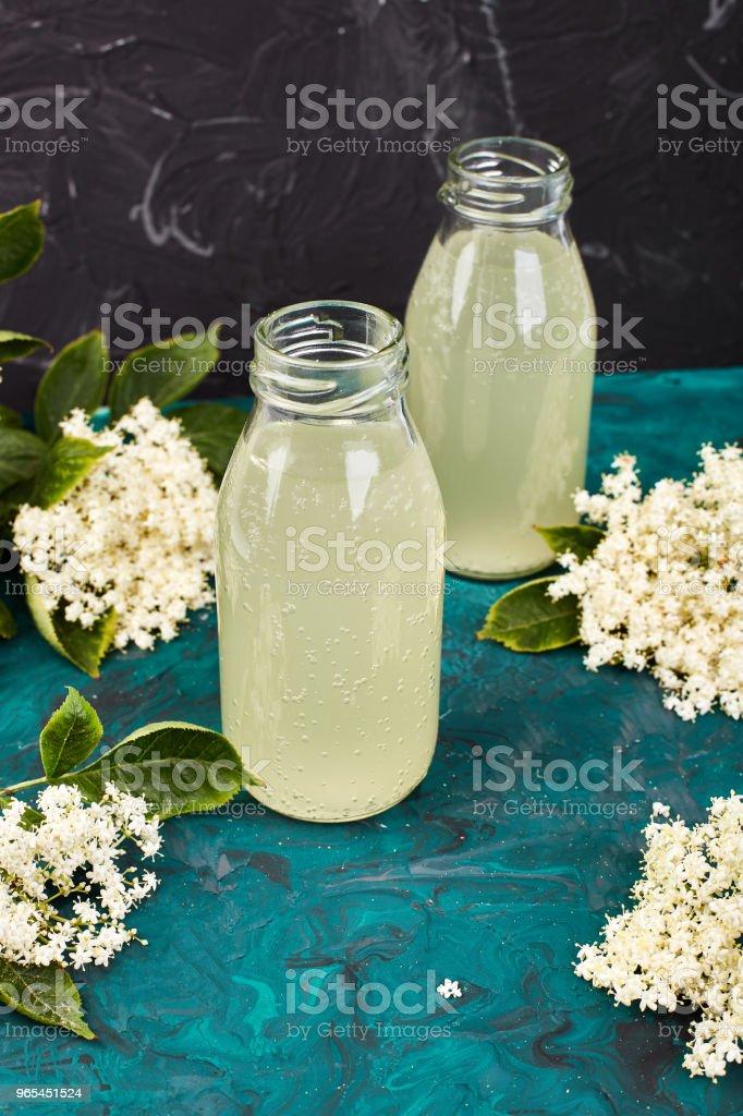 Kombucha tea with elderflower royalty-free stock photo