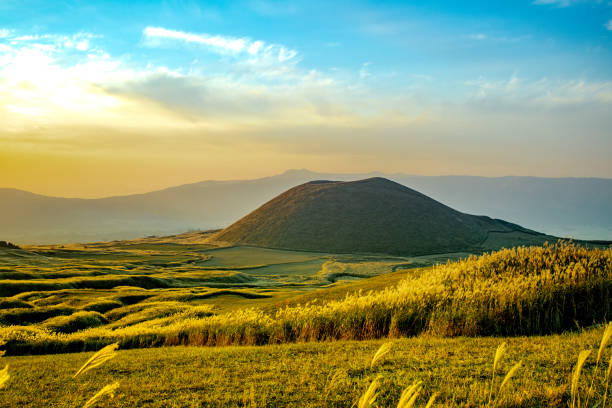 Komezuka of Mount Aso (Aso-san), the largest active volcano in Japan stock photo