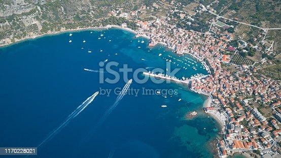 Komiza Village, Vis Island, Croatia, aerial view