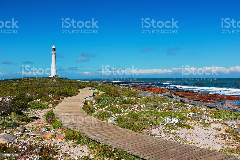 Kommetjie lighthouse in Cape town on clear sunny day stock photo