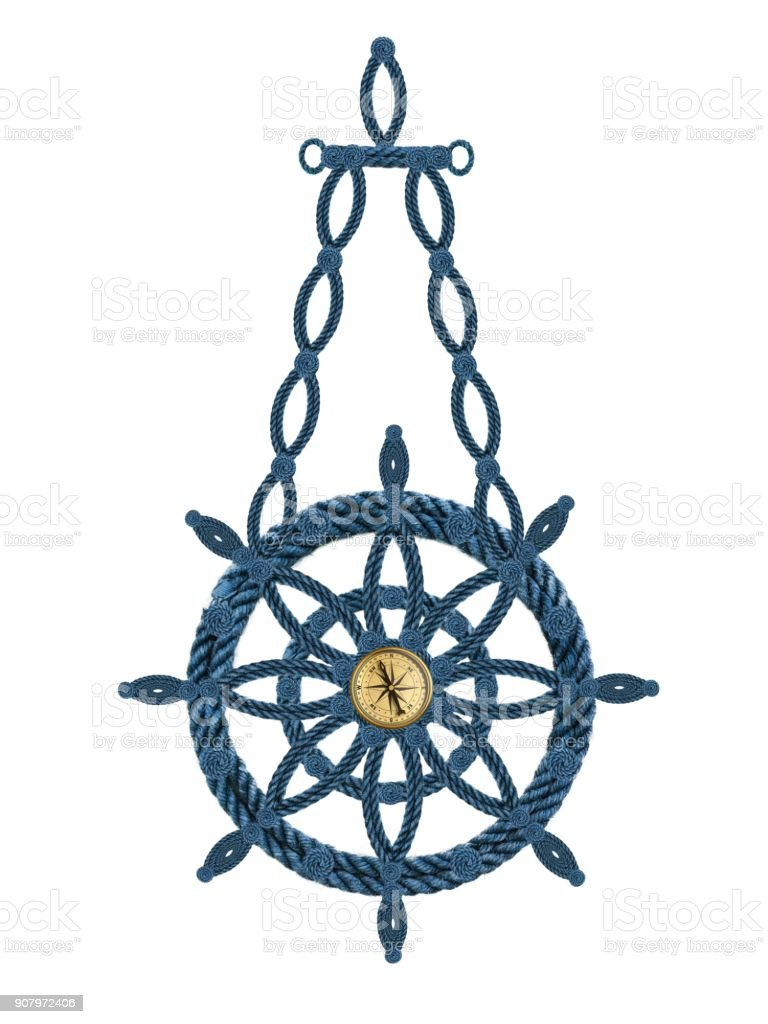 Kompass Anker Steuerrad stock photo
