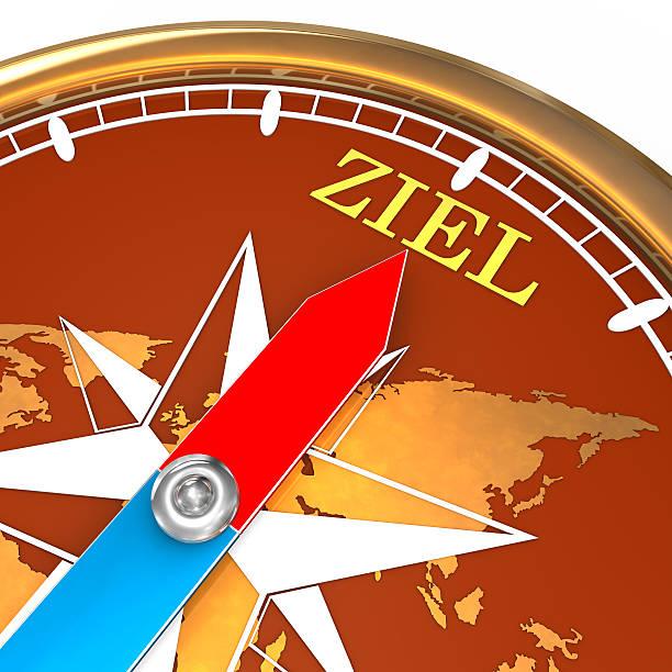 Kompass Ziel Goldener kompass mit dem Pfeil welcher Richtung