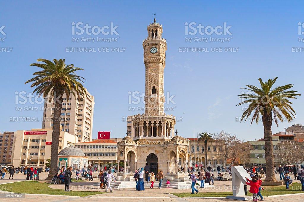 Konak Square with tourists walking near clock tower stock photo