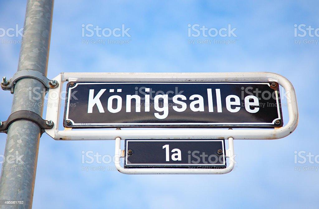 Konigsallee Dusseldorf road sign stock photo