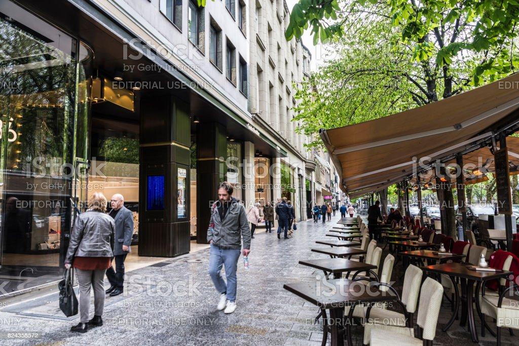 Konigsallee shopping street in Dusseldorf, Germany stock photo