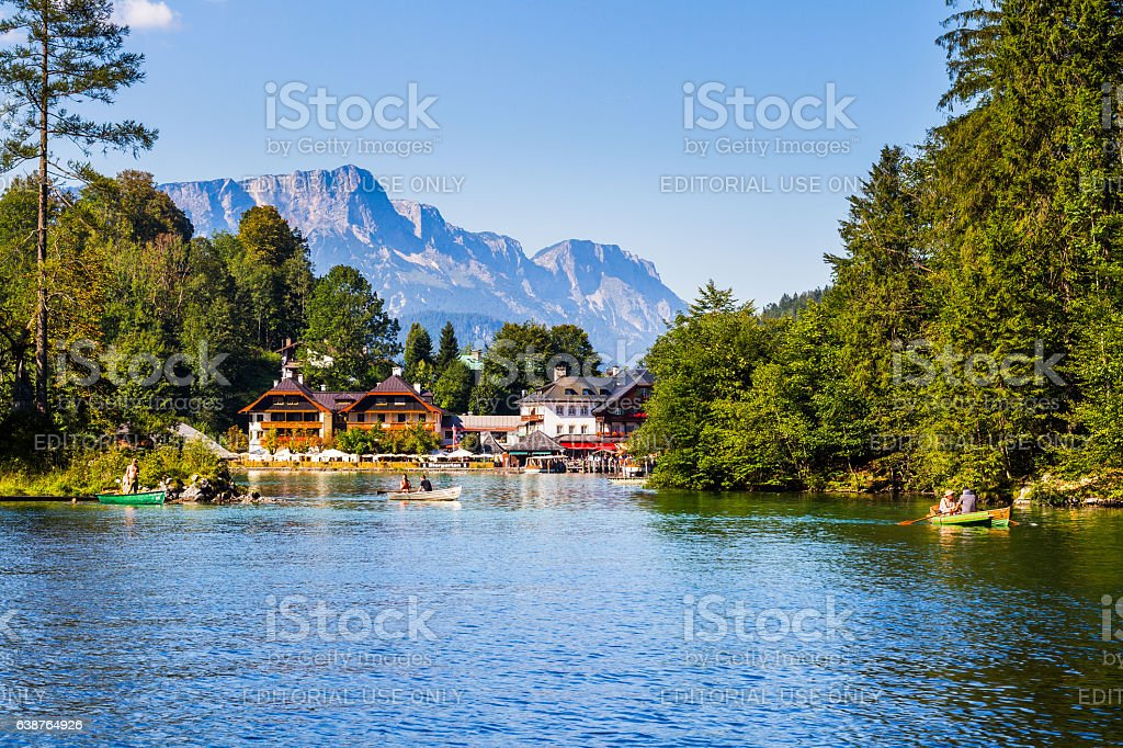 Konigsee Lake Village View from the Boat stock photo
