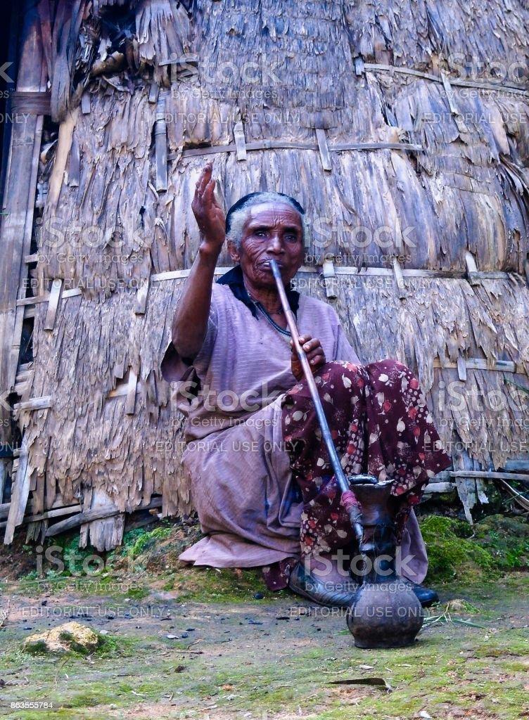 Konso aka Xonsita tribe senior woman - Omo valley, Ethiopia stock photo