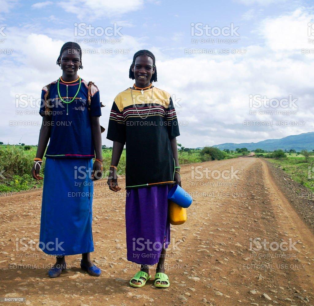 Konso aka Xonsita tribe woman - 03 october 2012 , Omo valley, Ethiopia stock photo