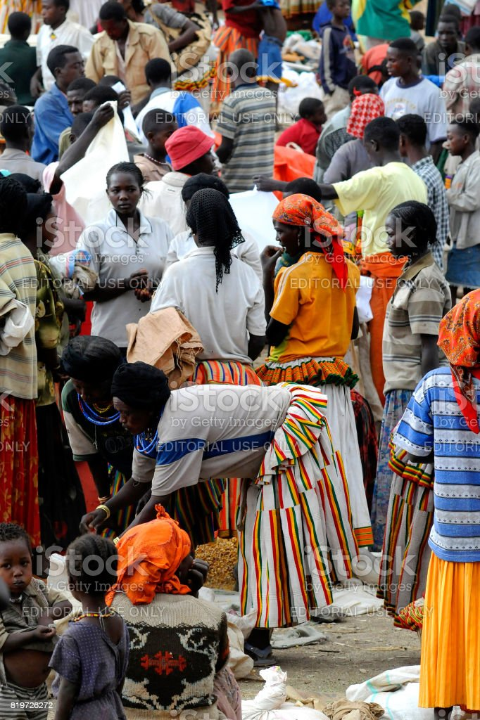 Konso market stock photo