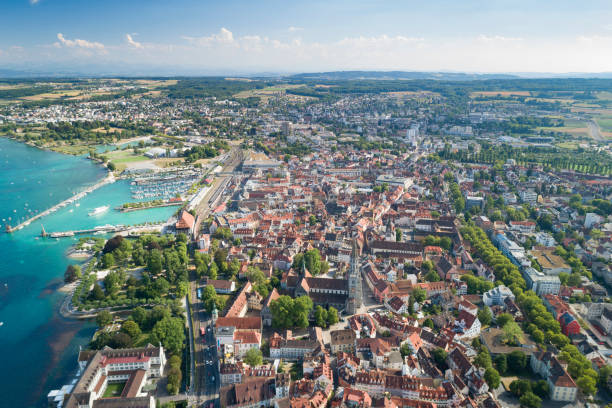 Konstanz Panorama, Lake Constance, Bodensee, Germany Aerial panorama of the famous town Constance at the Bodensee, Lake Constance. Converted from RAW. Bodensee stock pictures, royalty-free photos & images