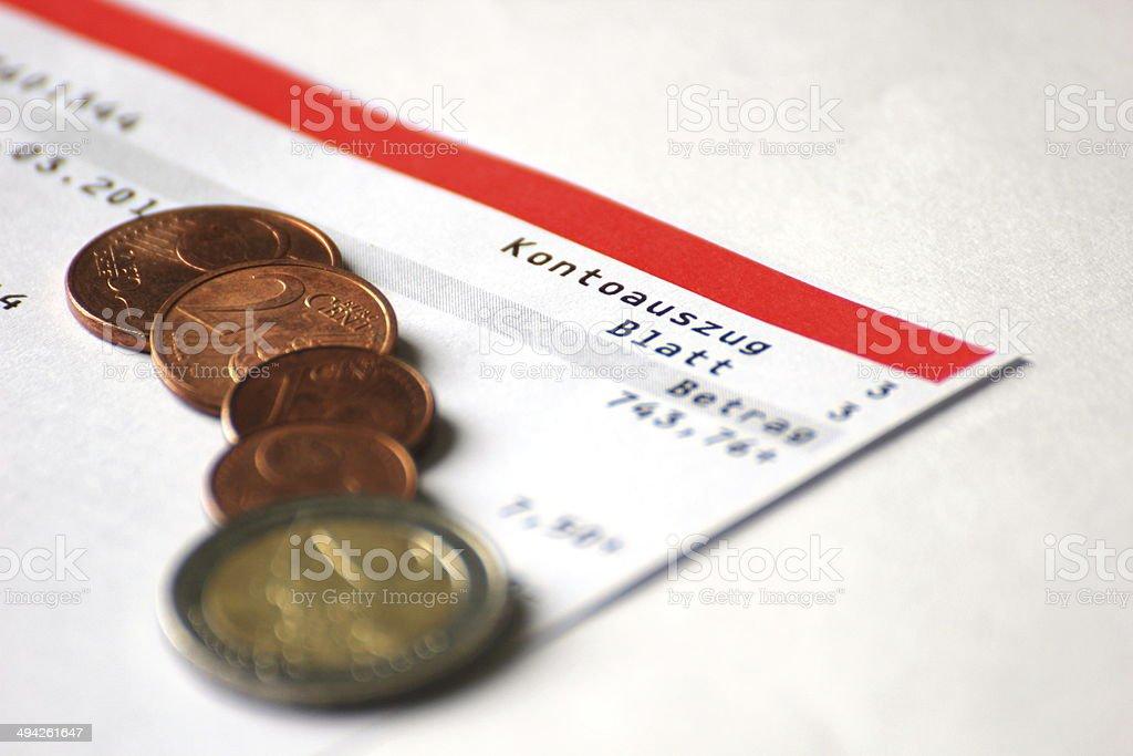 Kontoauszug stock photo