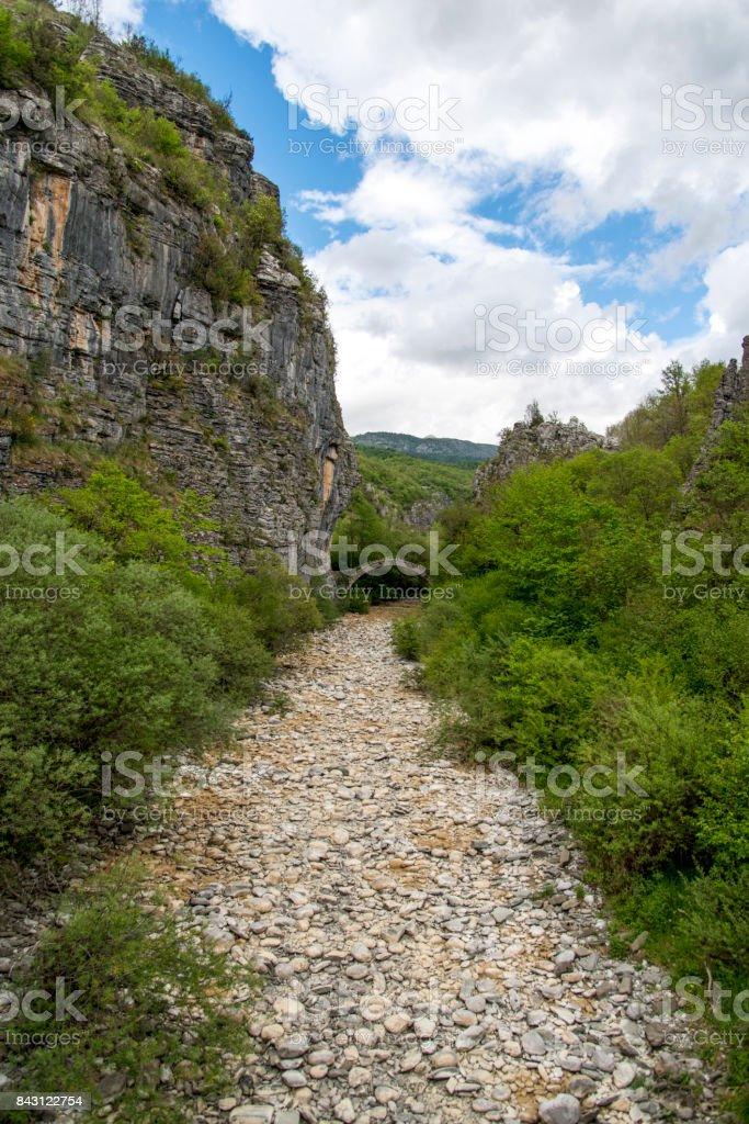 Kontodimos bridge near Vitsa, Zagoria, Greece stock photo