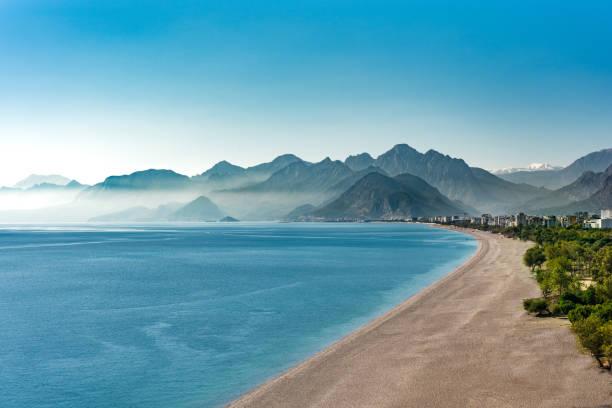Konyaalti beach and mountains in Antalya Turkey stock photo