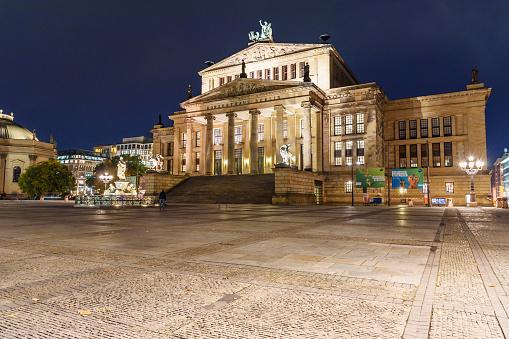 Konzerthaus Berlin is concert hall on the Gendarmenmarkt square at night. Berlin. Germany