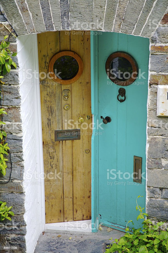 Kooky front doors stock photo