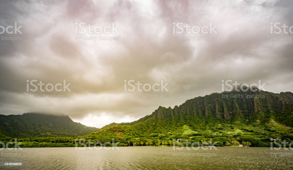 Ko'olau Cliffs of Oahu Hawaii stock photo