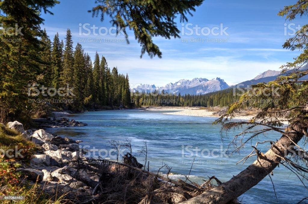 Kootenay River in Kootenay National Park, British Columbia, Canada. stock photo