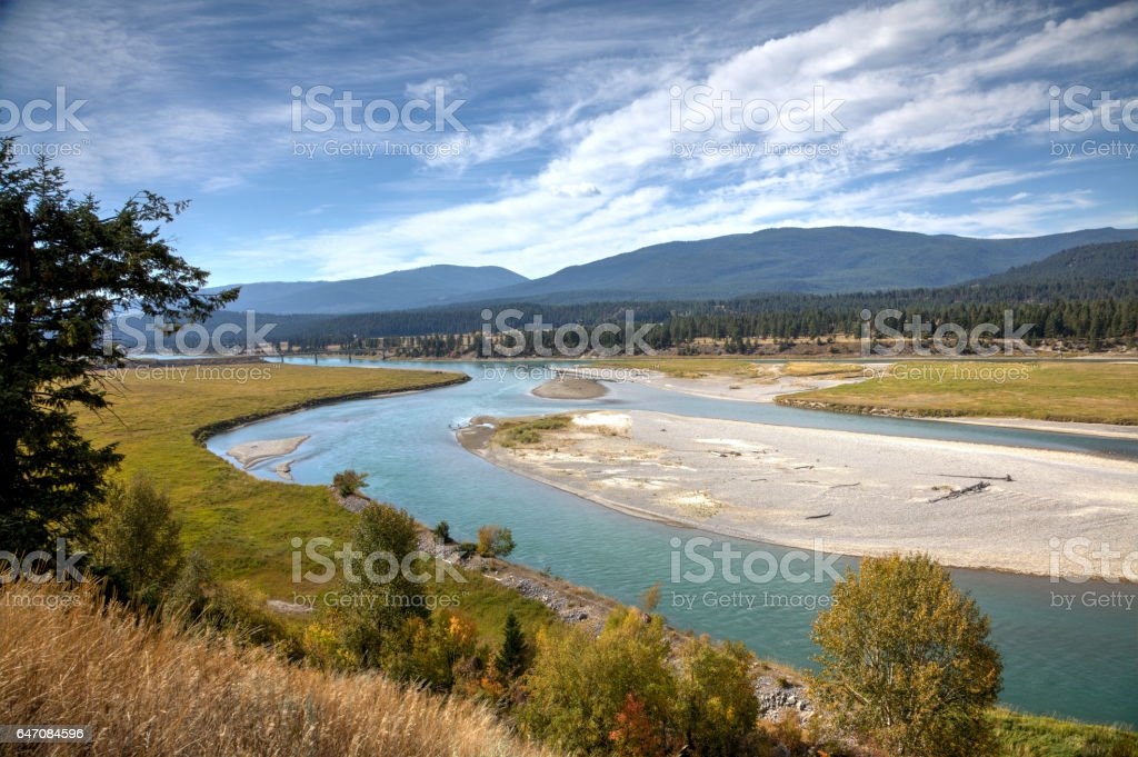 Kootenay River near Wardner Bridge, BC, Canada. stock photo