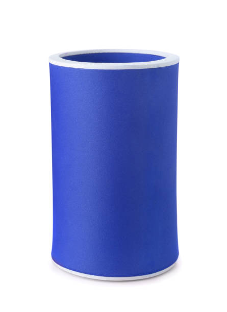 Koozie drink holder Blue foam koozie drink holder isolated on white cooler container stock pictures, royalty-free photos & images
