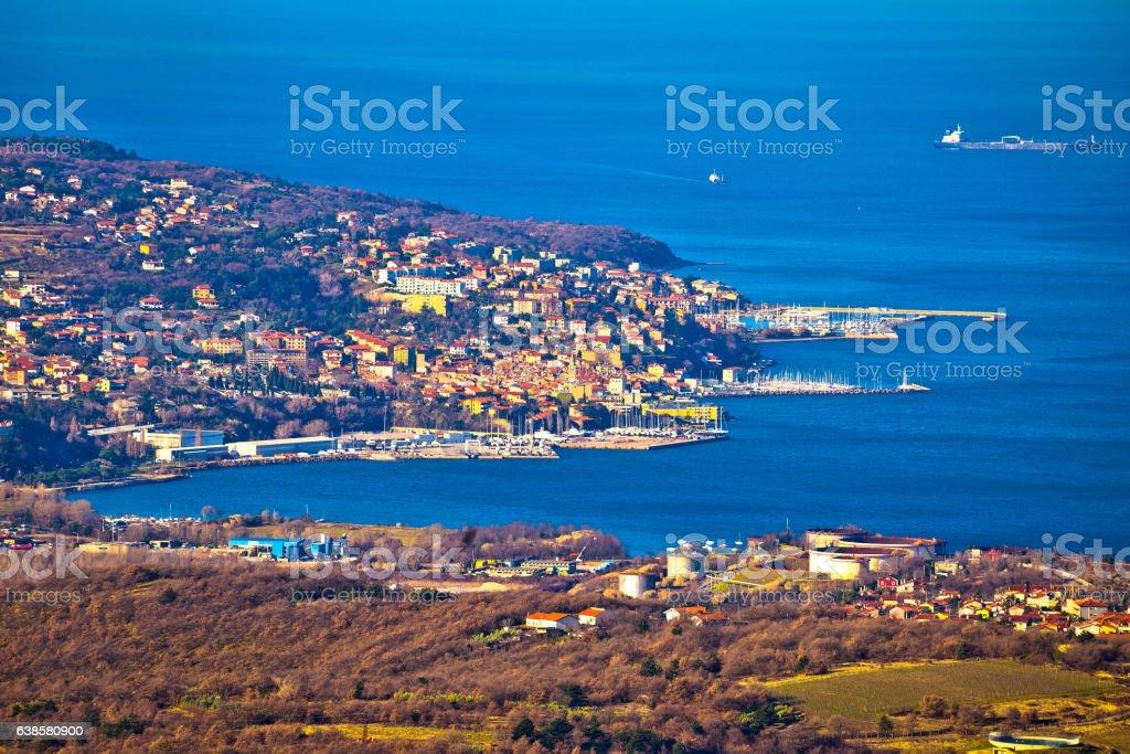 Kopar and Izola coastal towns view stock photo