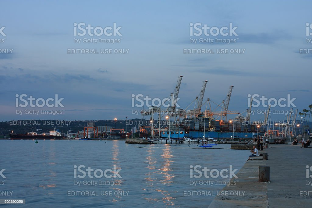 Koper port  area in Slovenia in the evening stock photo
