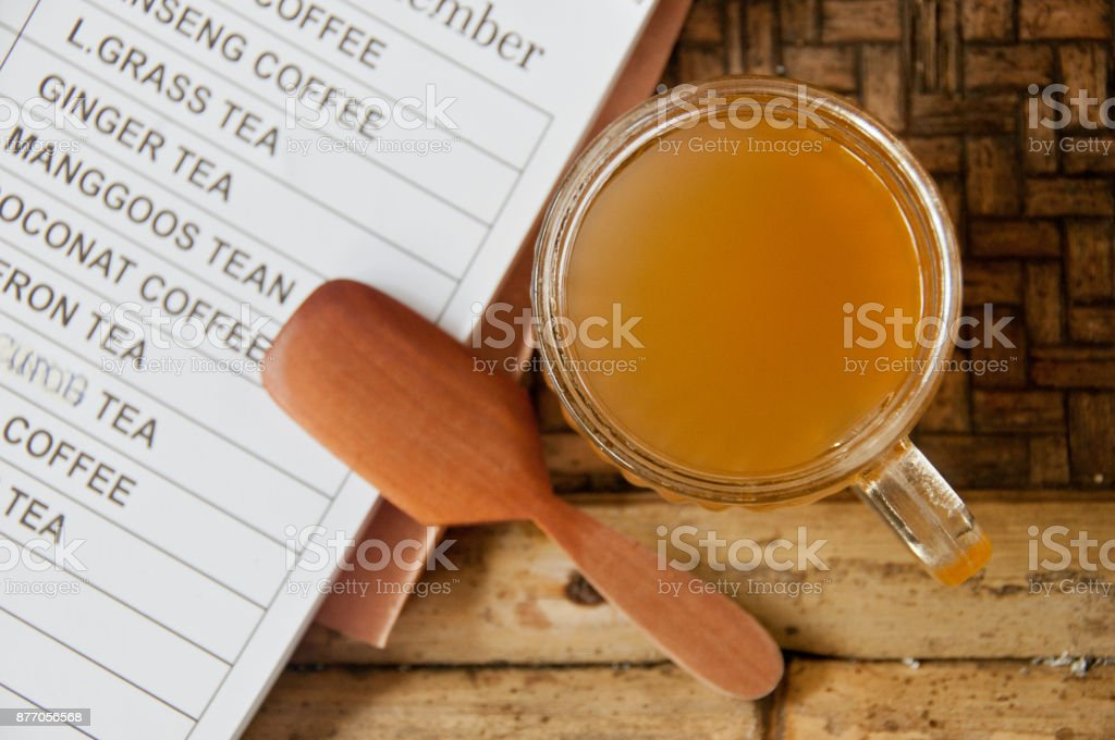 Kopi Luwak Bali famous organic Palm Civet coffee with wooden spoon and menu stock photo
