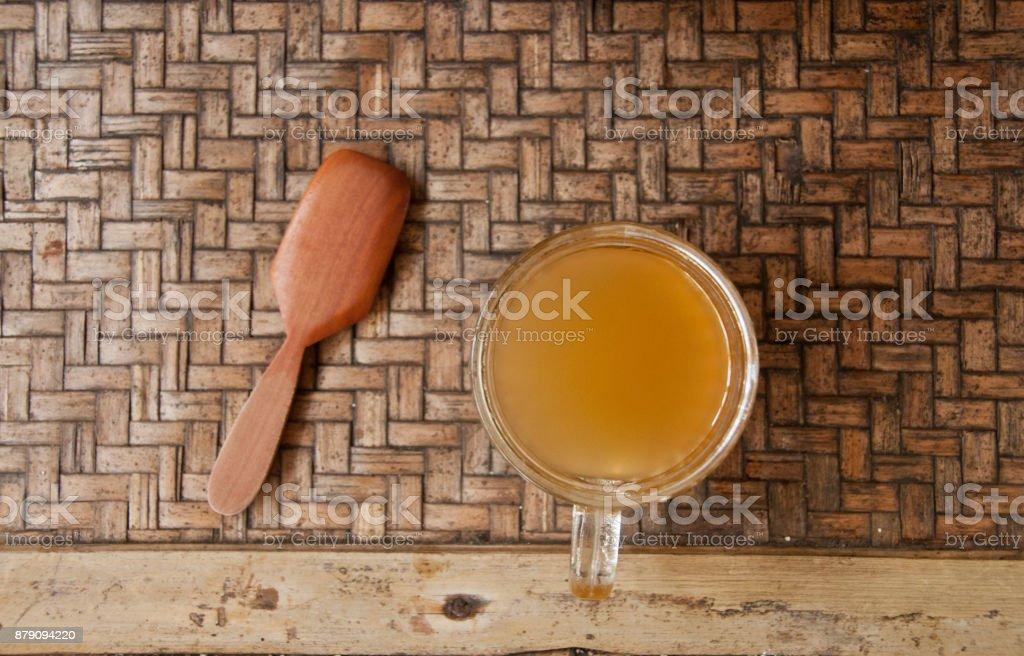 Kopi Luwak Bali famous organic Palm Civet coffee with wooden spoon stock photo