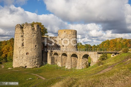 Ruins of Koporye fortress in the Leningrad region in autumn sunny day, Russia