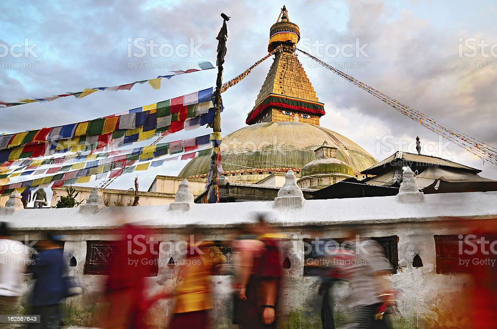 Kora around Boudhanath Stupa royalty-free stock photo