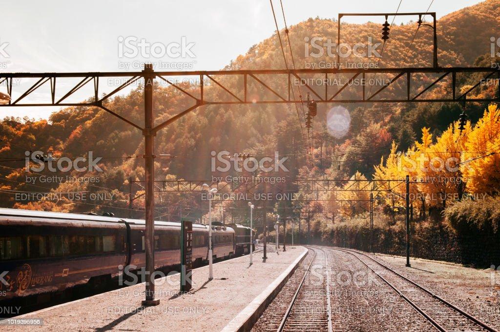 KORAIL Haerang trilho de trem, na estação de Seungbu cruzeiro - foto de acervo
