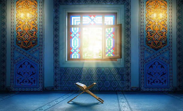 Koran - holy book of muslim. in Turkish mosque under the daylight from the window islam stock pictures, royalty-free photos & images