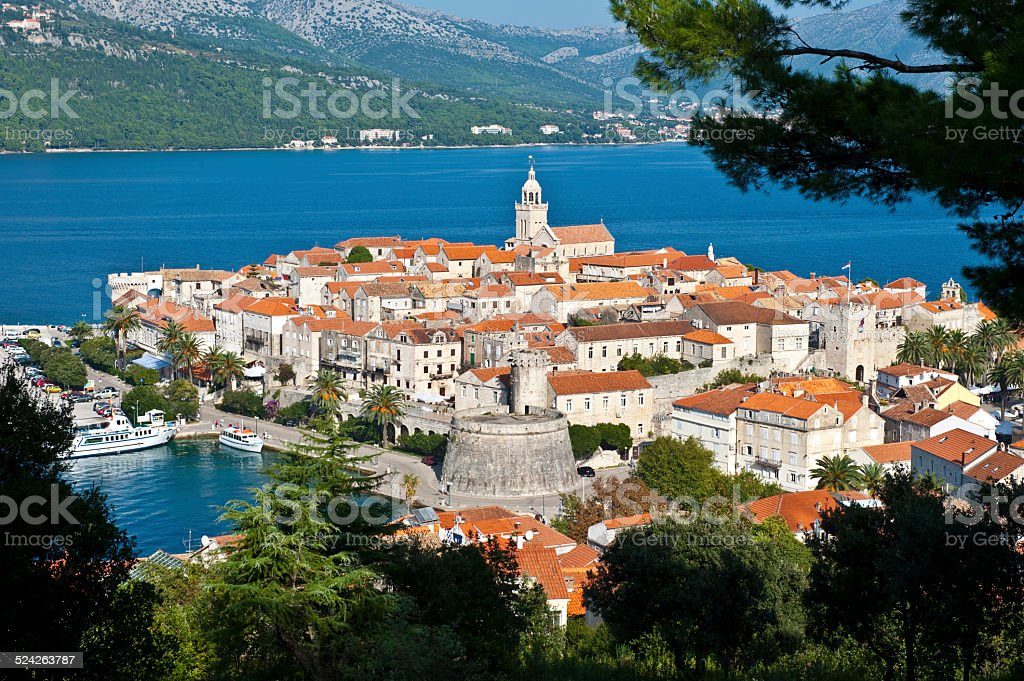 Korcula, old medieval town in Croatia stock photo