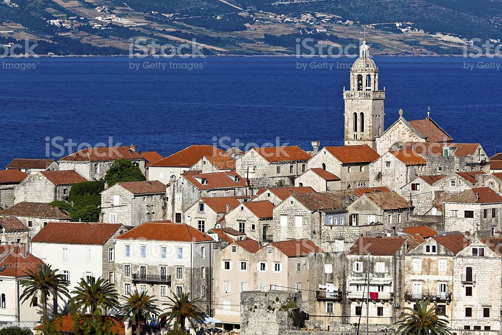 Korcula old town cathedral stock photo