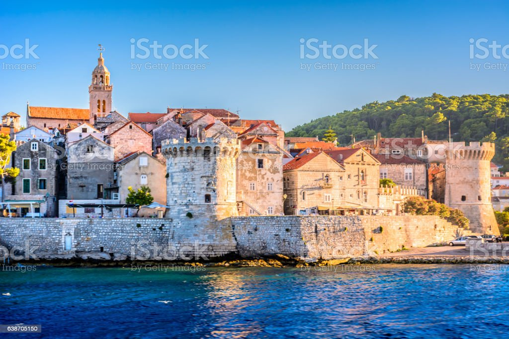 Korcula old town island. stock photo