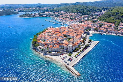 Aerial view of Korcula old Town on Korcula Island