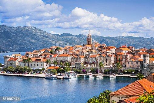 View of Korcula old town, Korcula island, Croatia