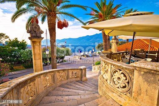 Korcula town gate and historic architecture view, historic tourist destination in archipelago of southern Dalmatia, Croatia