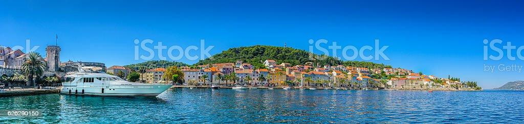 Korcula town waterfront panorama. stock photo