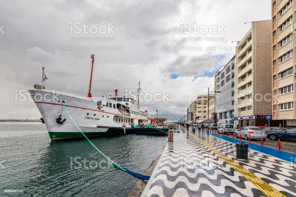 Kordon street view in Izmir at rainy day stock photo