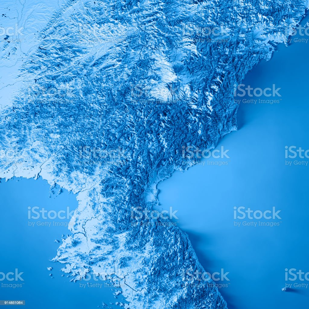 DPR Korea 3D Render Topographic Map Blue stock photo