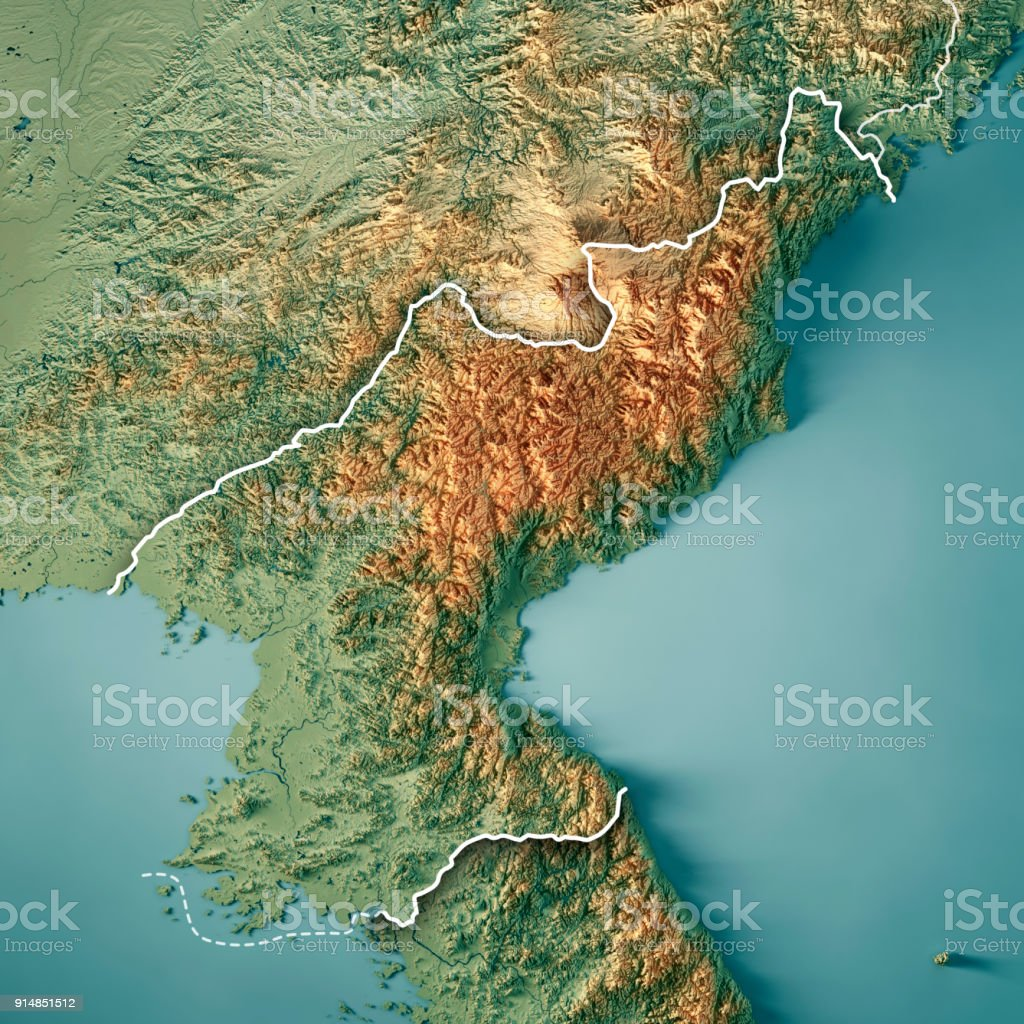 dpr korea 3d render topographic map border royalty free stock photo