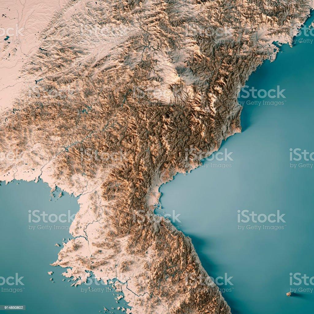 DPR Korea 3D-Render topographische Karte Neutral – Foto