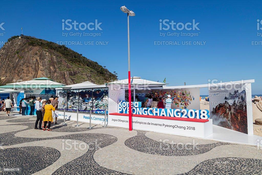 Korea booth in Leme Beach sidewalk stock photo