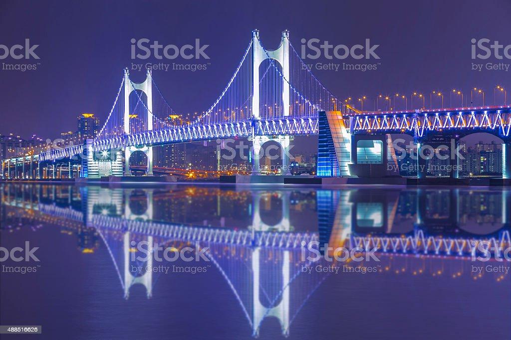 韓国釜山 Gwangan 橋の夜のアート - 2015年のロイヤリティフリーストックフォト