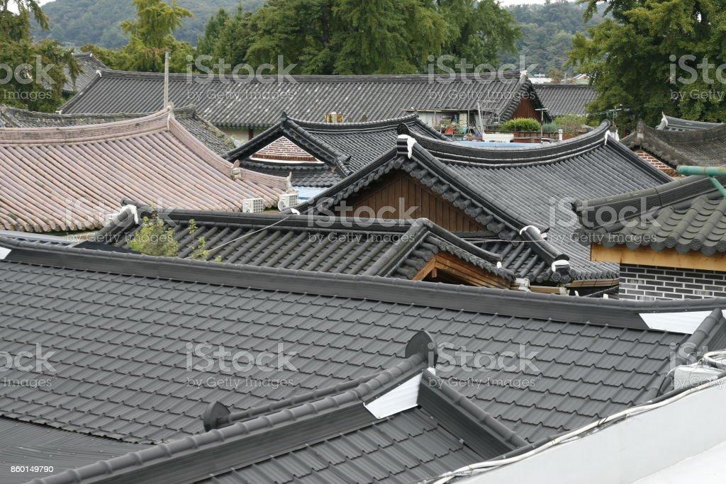 korea traditional house roof stock photo