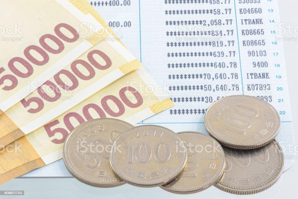 Korea Won money with financial statement stock photo